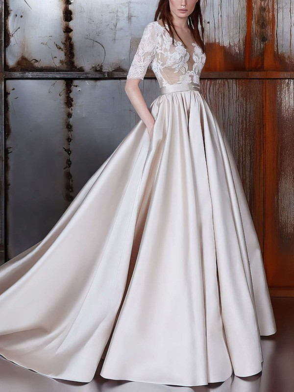 Ball Gown Tulle Wedding Gowns with Sleeve