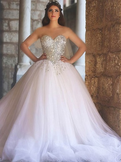Tulle Sweetheart Ball Gown Court Train with Crystal Detailing Wedding Dresses #UKM00022979