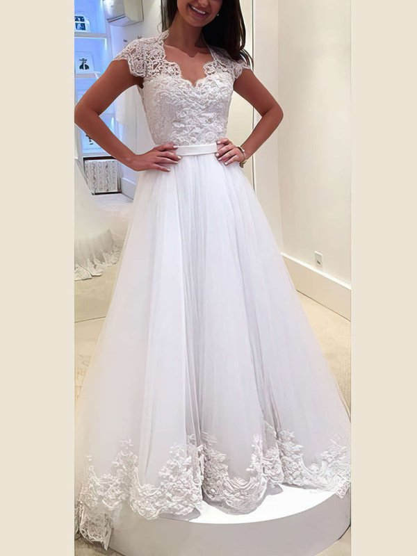 Princess V Neck Tulle Casual Wedding Gowns