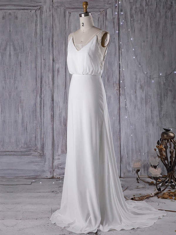 Sexy V Neck Chiffon High Quality Bridal Dress