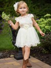 A-line Scoop Neck Lace Organza Short/Mini Sashes / Ribbons Flower Girl Dresses #UKM01031853