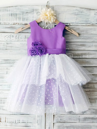 Ball Gown Scoop Neck Satin Tulle Ankle-length Tiered Flower Girl Dresses #UKM01031851