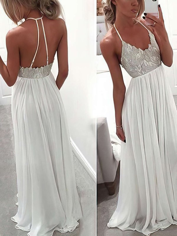 A-line V-neck Chiffon Simple Prom Dresses