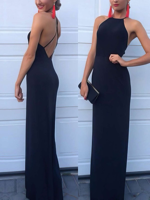 Open Back Long Dark Navy Evening Dress