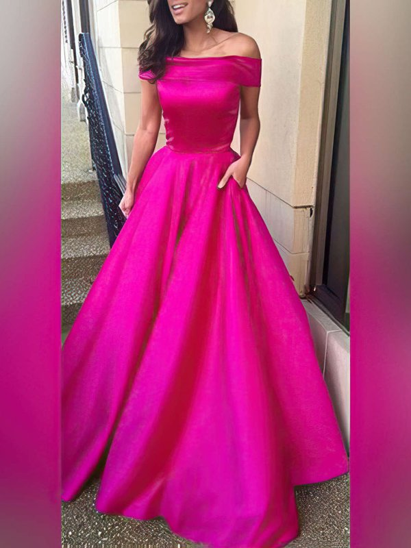 Long Satin Ball Gown Prom Dress with Pockets
