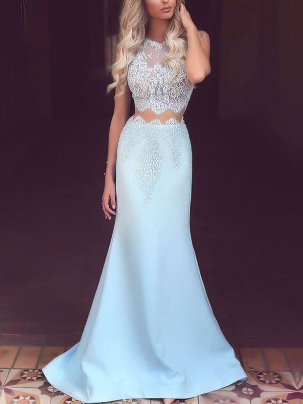 Mermaid scoop neck satin tulle blue formal dress with lace appliques