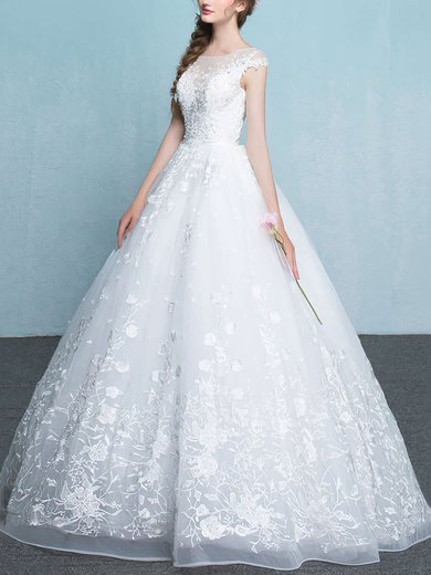 Organza Scoop Neck Ball Gown Floor-length with Appliques Lace Wedding Dresses #UKM00023065