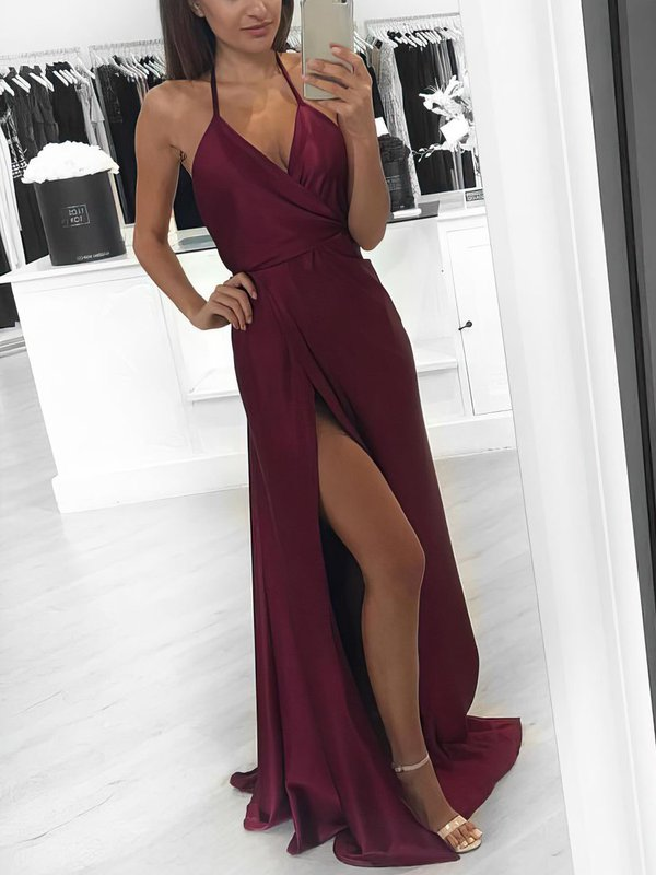 Open Back A Line Long Dresses for Prom with Slit