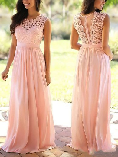 Affordable A-line Scoop Neck Lace Chiffon Floor-length Prom Dress #UKM020104579