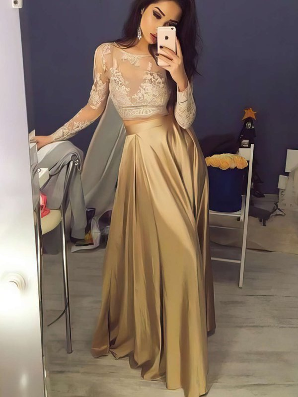 Two Piece Long Sleeve A Line Gold Prom Dresses