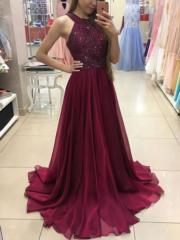 Open Back Long Burgundy Evening Dress