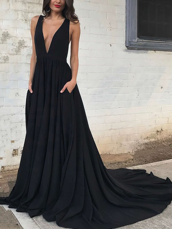 Elegant Long Sexy Princess Black Prom Dress