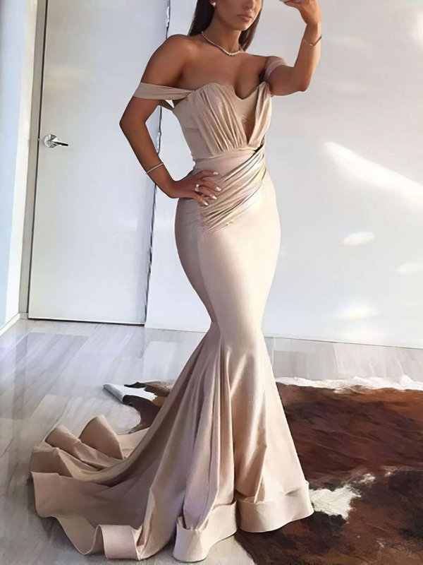 Sexy Mermaid Champagne Jersey Evening Dresses