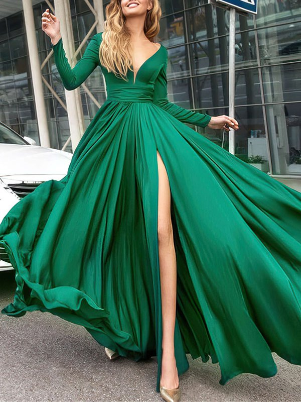 Elegant Long Hunter V Neck Evening Dress with Slit