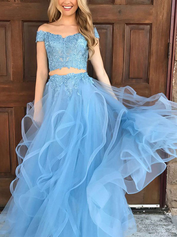 Off-the-shoulder tulle appliques lace blue prom dress