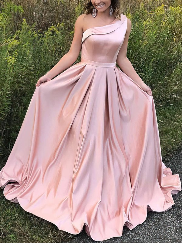 Elegant One Shoulder Pink Long Evening Dresses