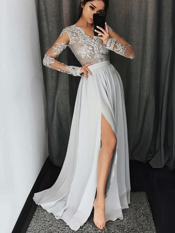 Appliques Lace Silver Formal Dress