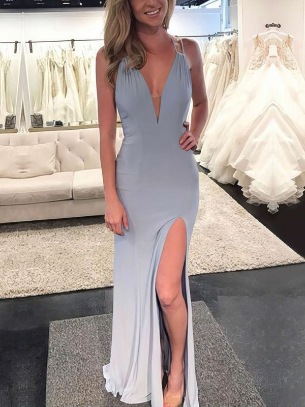 Open Back V Neck Prom Dress with Slit