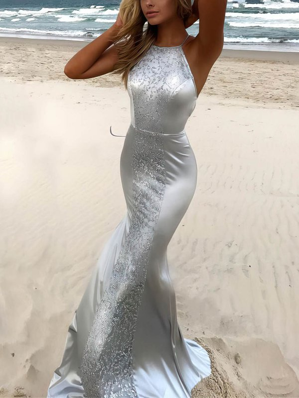 Long Sequins Open Back Mermaid Evening Dress