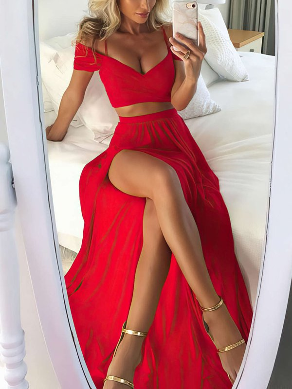 Two Piece A Line Red Sexy Prom Dress
