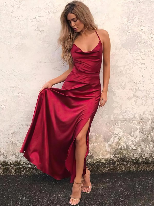 Sexy Burgundy Open Back Prom Dress