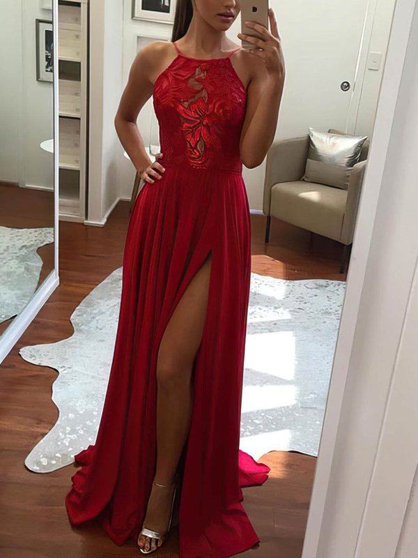 A Line Lace Elegant Prom Dresses with Slit
