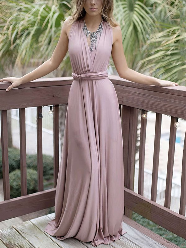 A-line V-neck Cheap Custom Prom Dresses V-neck