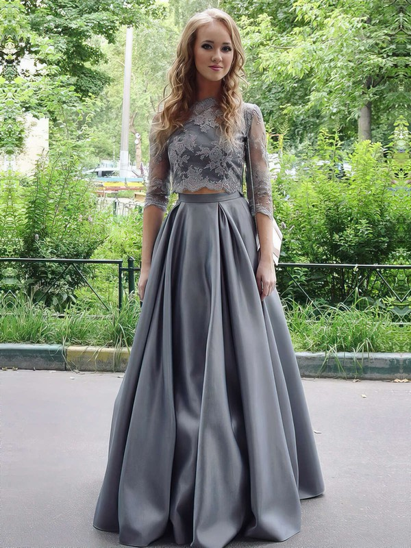 Long Satin Dress for Prom with Sleeves