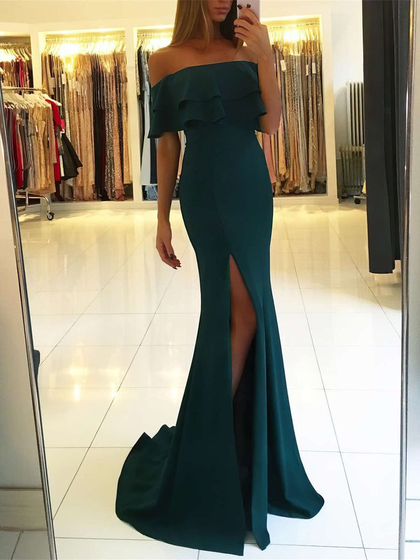 Mermaid Simple Evening Dresses with Slit