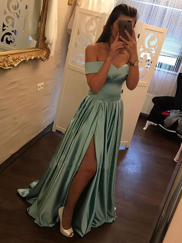 A Line Satin Prom Dresses with Slit