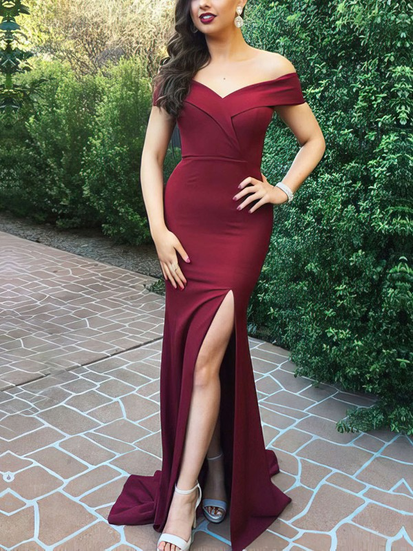 Sweetheart Burgundy Satin Formal Dresses