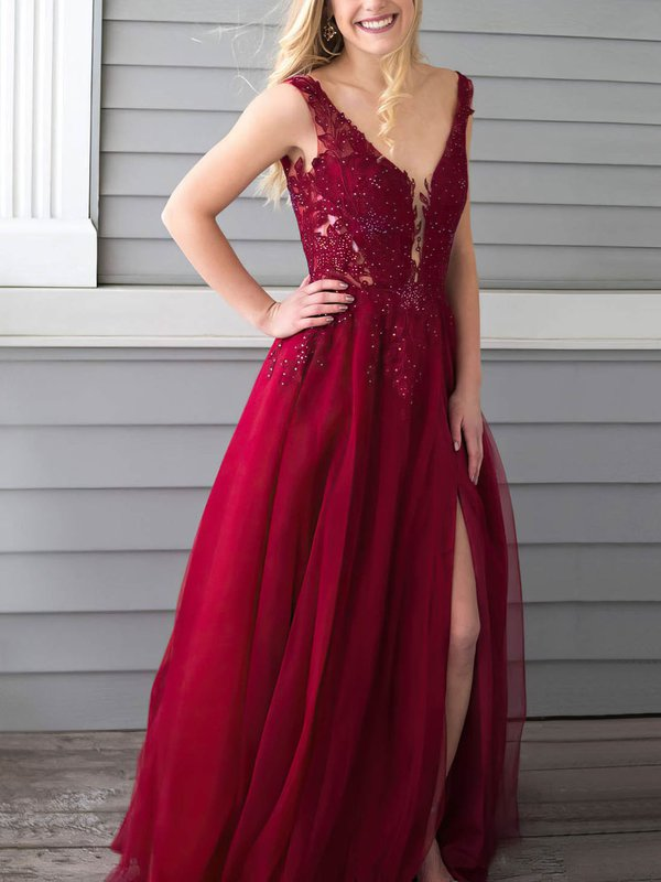Elegant V Neck Chiffon A Line Evening Dress