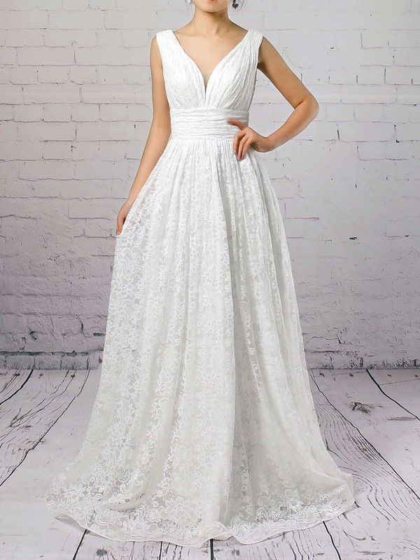 V Neck Princess Lace Amazing Wedding Gown