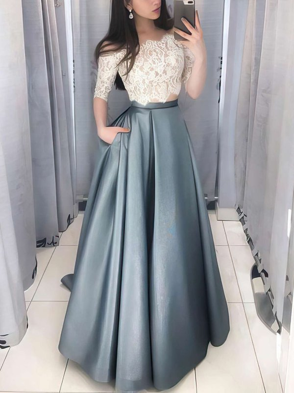 Ball Gown Off-the-shoulder Lace Pockets Very Casual Prom Dress