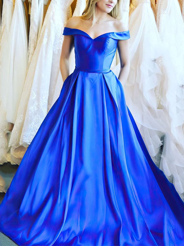 Ball Gown Royal Blue Prom Dresses with Pockets