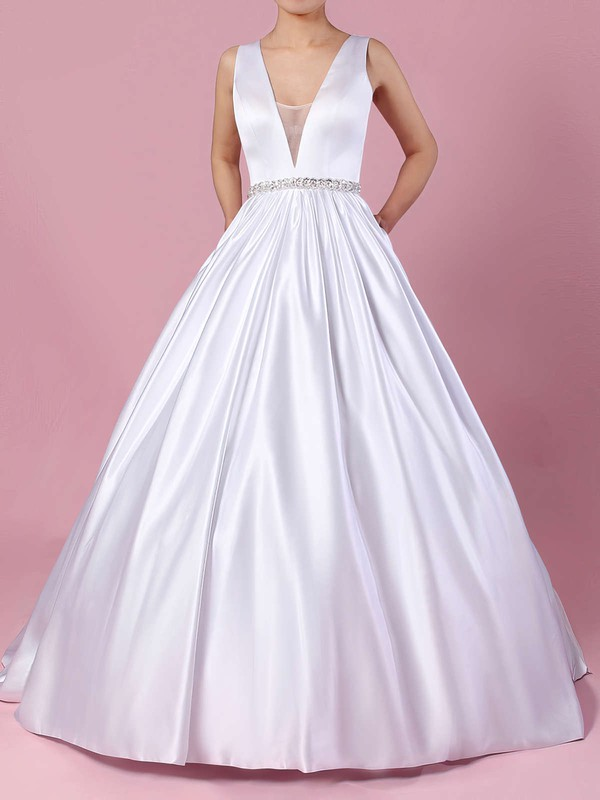 V Neck Satin Bridal Gowns with Pockets