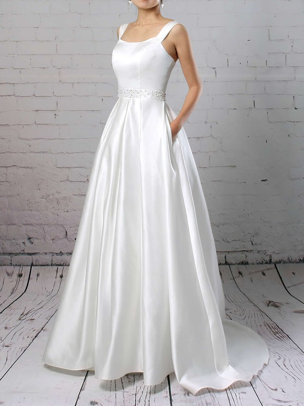 Elegant Satin Inexpensive Dress for Wedding with Pockets