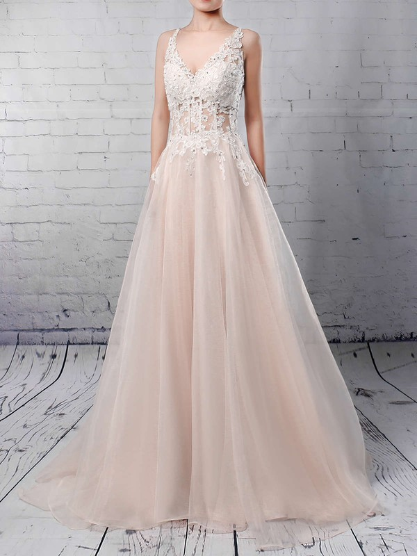 Elegant V Neck Sequins Wedding Gown