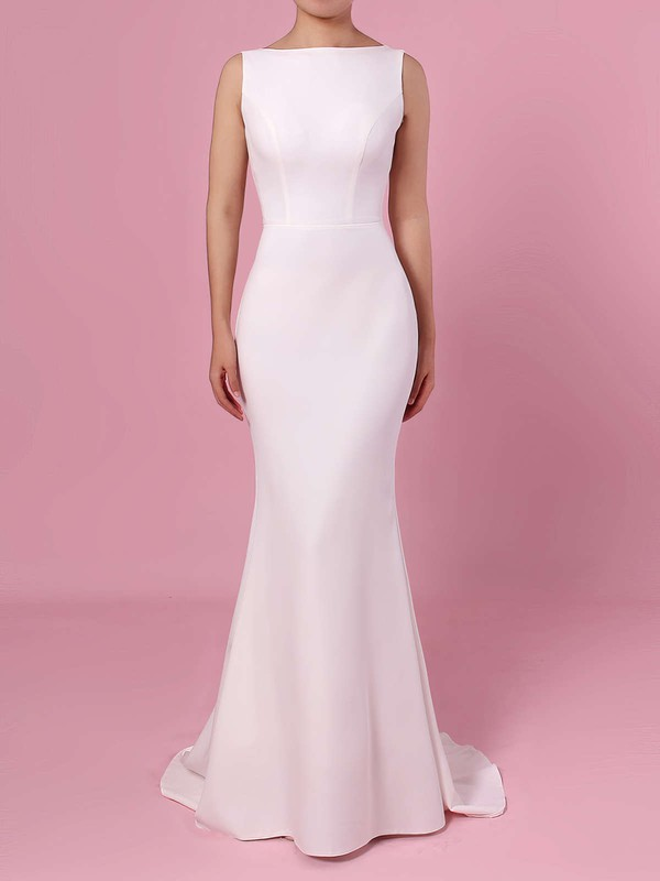Sheath Ivory Satin High Quality Wedding Dresses