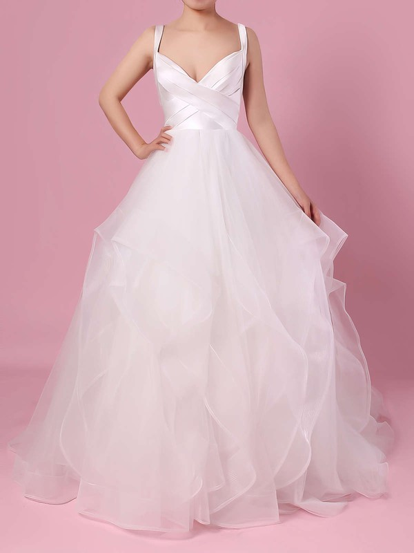 Ball Gown V Neck Ivory Affordable Dresses for Bridal