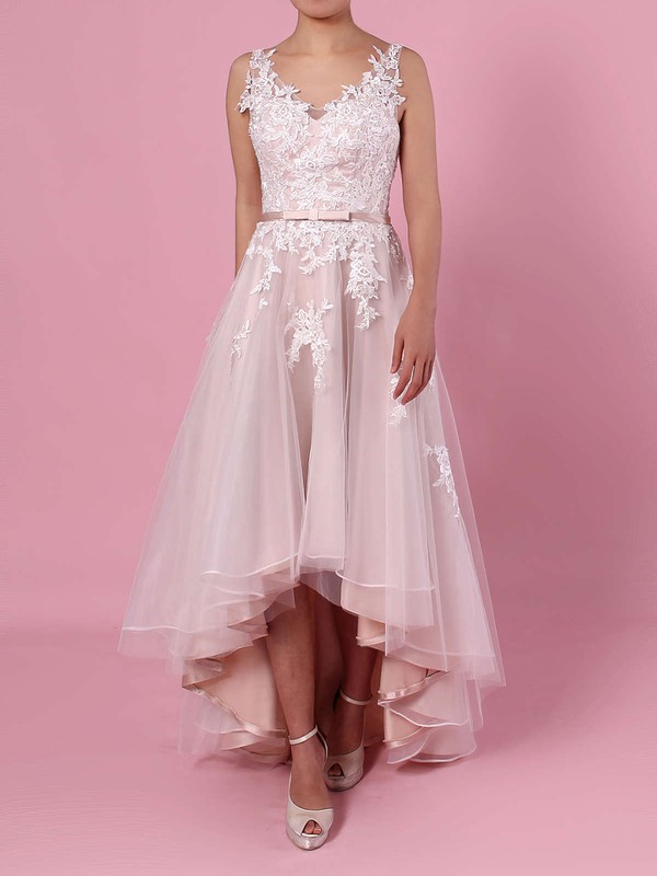 A Line V Neck Tulle Bridal Dress