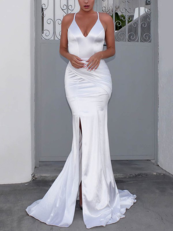 Mermaid V Neck Satin Amazing Wedding Dresses