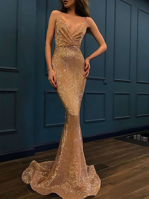 Mermaid V-neck Sequined Sparkly Dresses for Prom