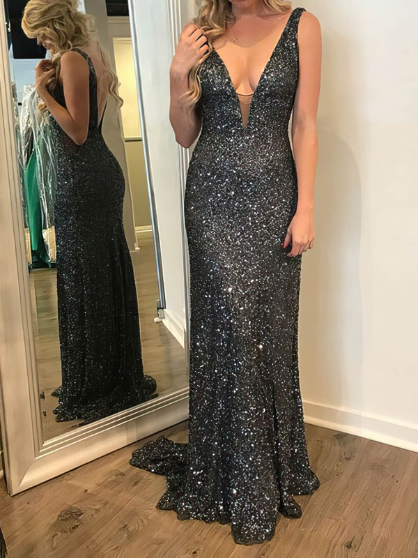 Sparkle Sequined V Neck Prom Dresses