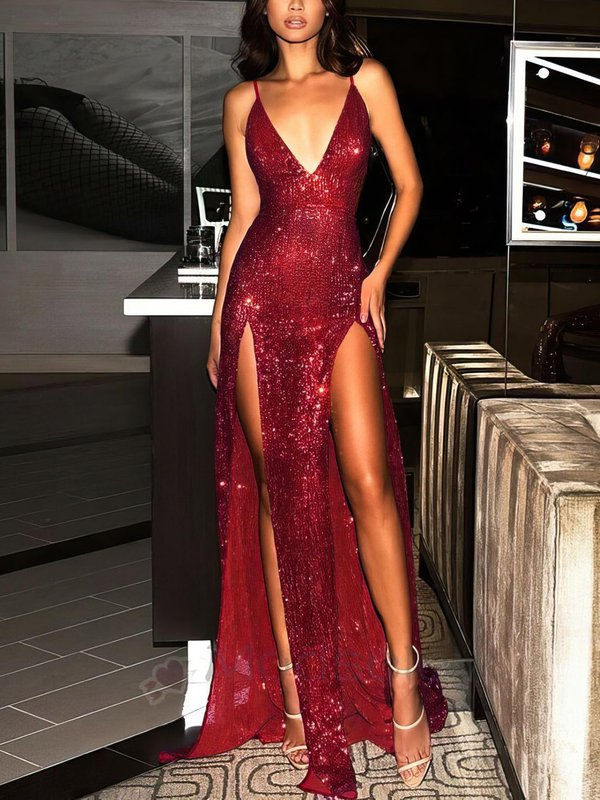 V-neck Sequined Sparkly Dresses for Prom with Slit