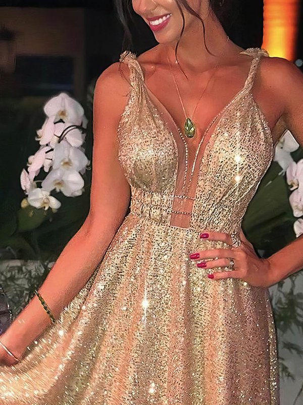 Sparkle Long Champagne Formal Dress