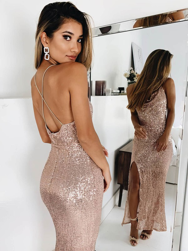 Sequined Types Of Formal Dress with Slit