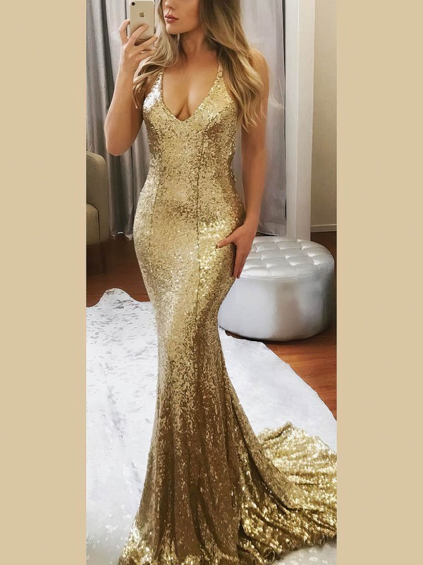Sexy Halter Sequined Sparkle Mermaid Prom Dresses