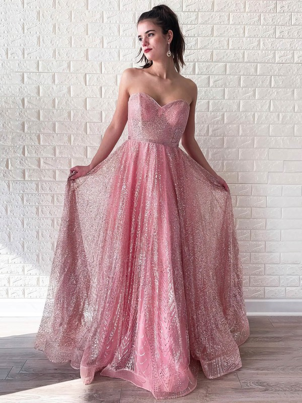 A-line Sweetheart Glitter Sparkly Dresses for Prom