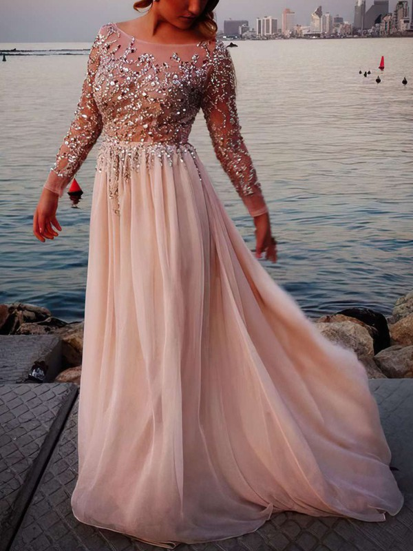 A-line scoop neck tulle chiffon beading prom dress